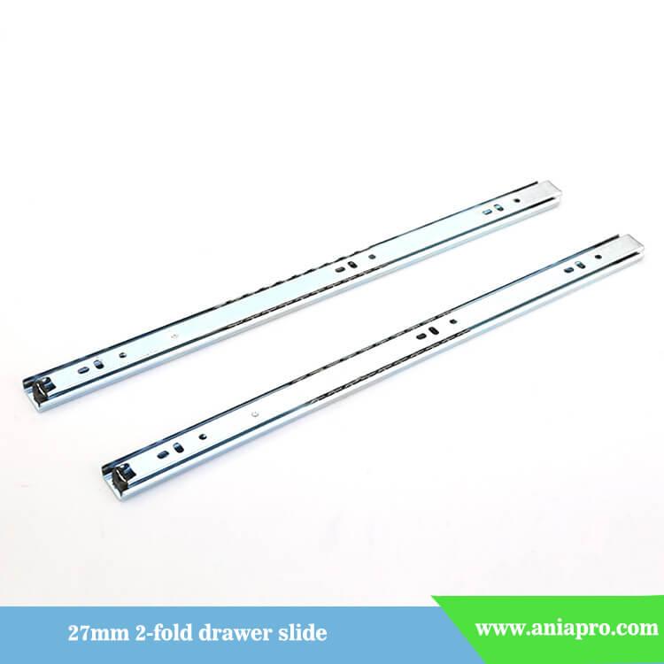 27mm 2 fold ball bearing drawer runner